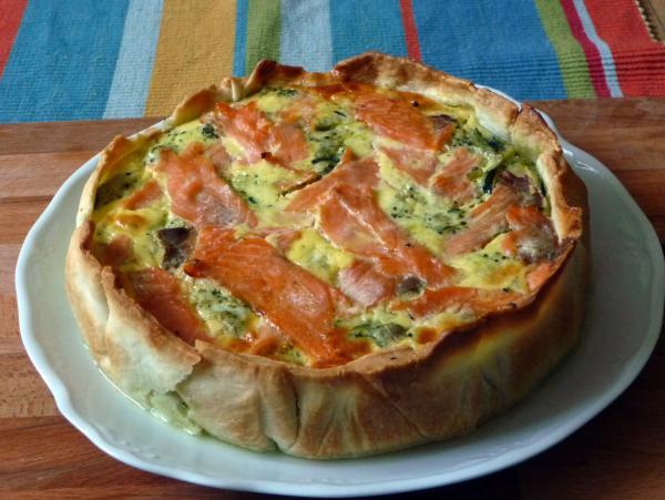 quiche de salmón y verduras