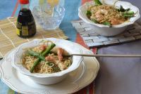 noodles con trigueros y gambones